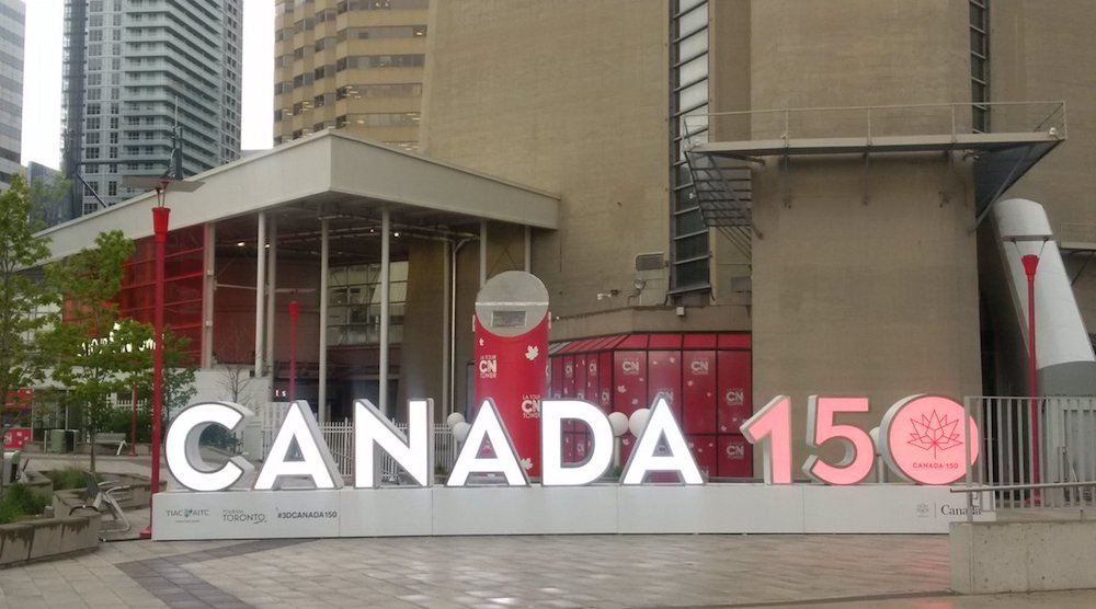 Toronto's new Canada 150 sign has been unveiled at the CN Tower