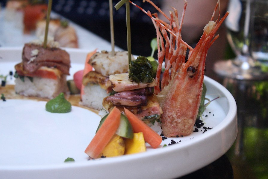 Minami Spring Menu_Salmon Oshi Bites! Topped with ebi, tako, scallops, and Joshu Wagyu