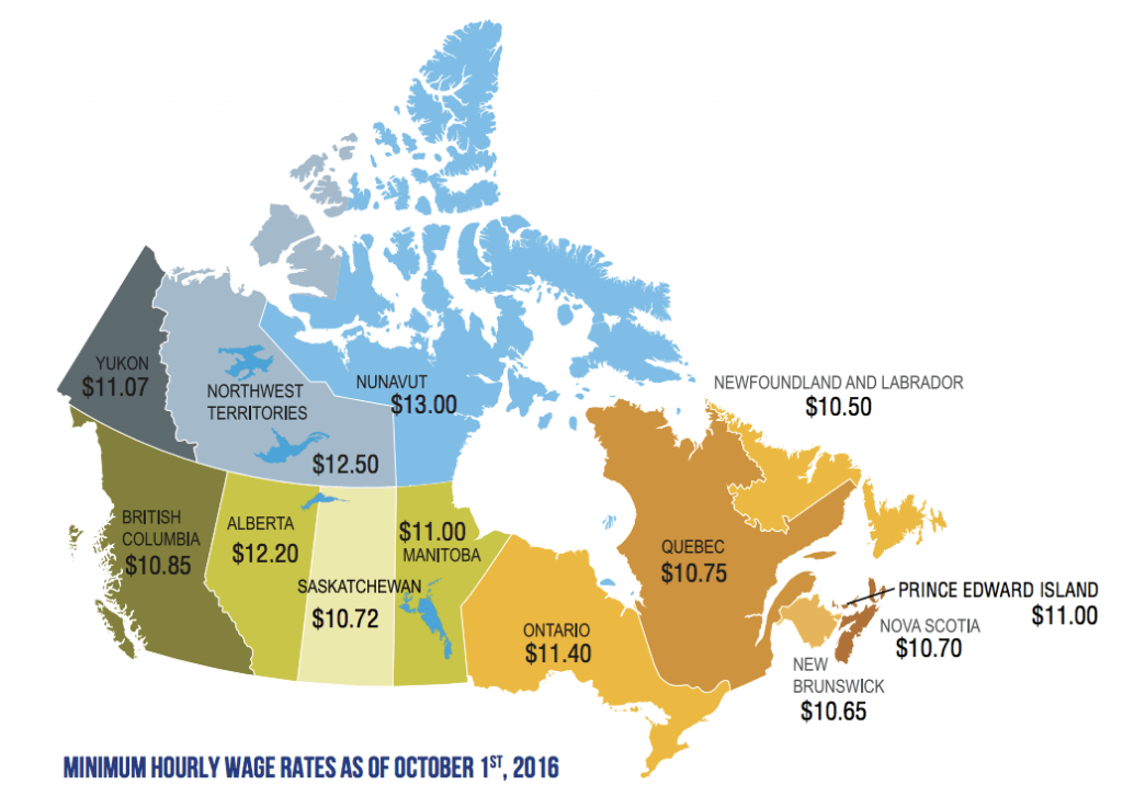 Minimum Wage In Every Province And Territory Across Canada Right - Minimum wage us map