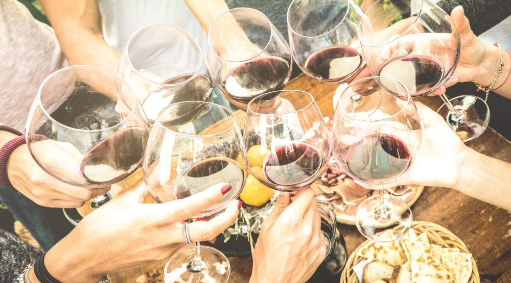 Wine friends drinks outside