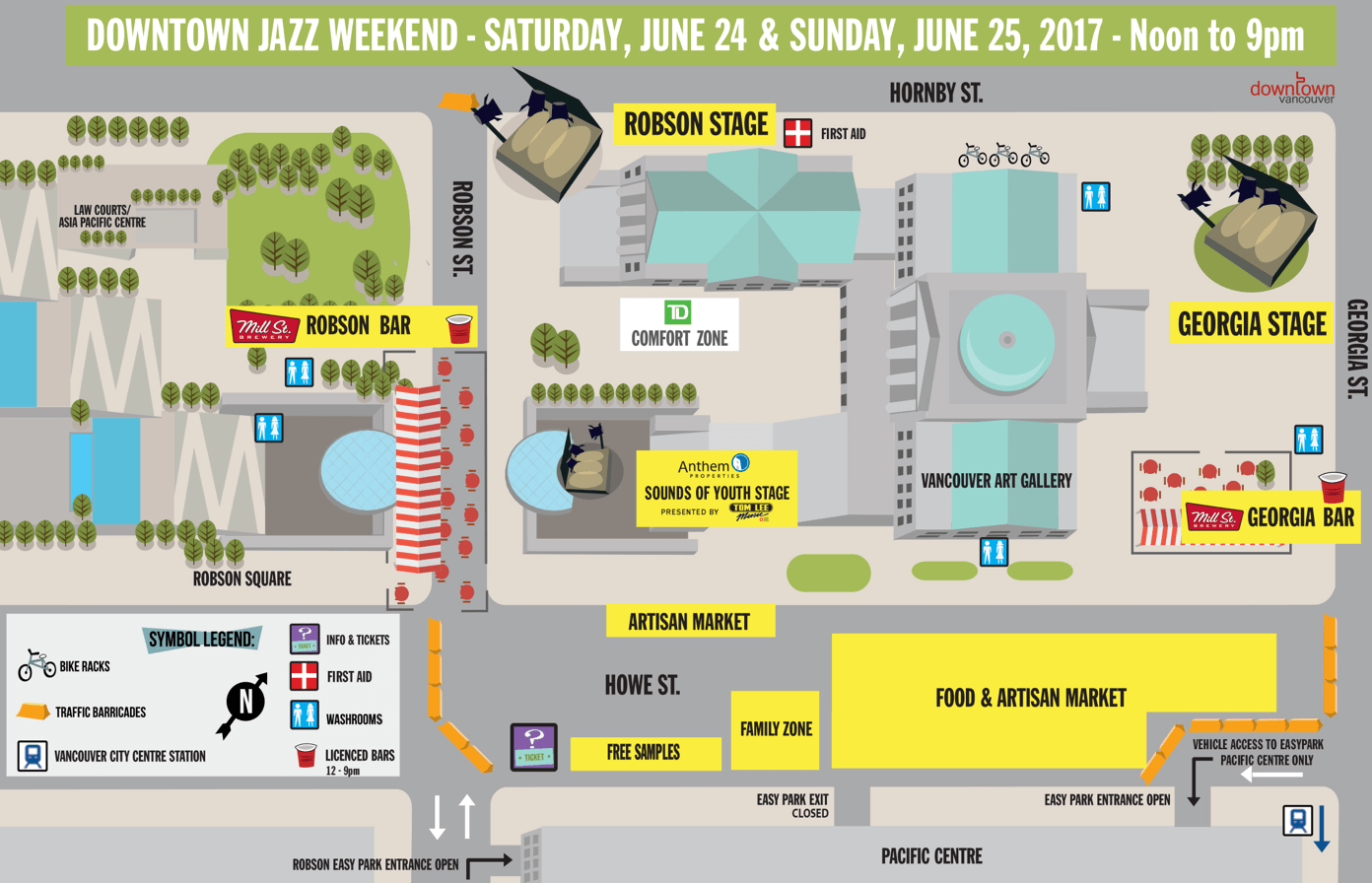 A map of the Downtown Jazz Weekend stages for 2017 (Coastal Jazz)