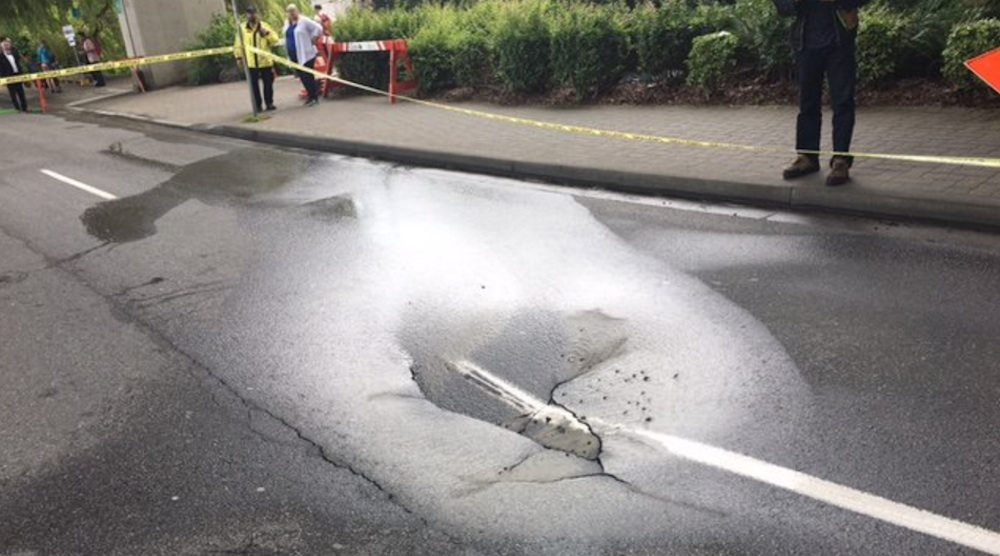 Sinkhole on the only road into Granville Island halts traffic
