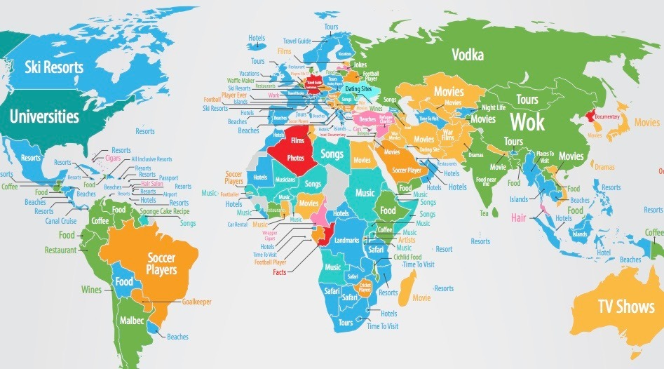 How People See The World Based On Google Searches MAP Daily - Eorld map