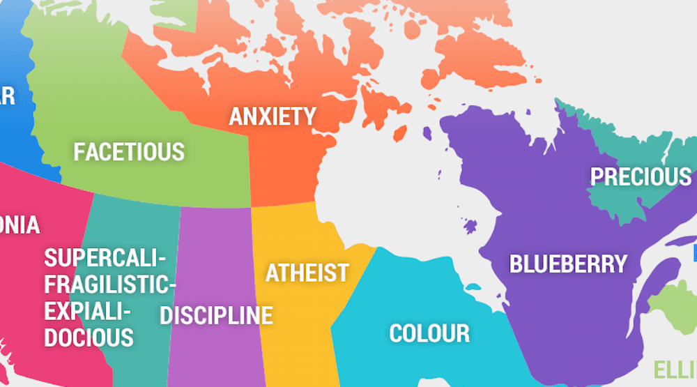 The most misspelled words in Canada according to Google (MAP)