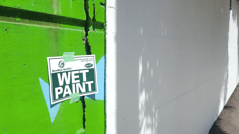 The Beatty Street mural is being covered up to make way for a new piece of street art (Daniel Bettridge / Daily Hive)