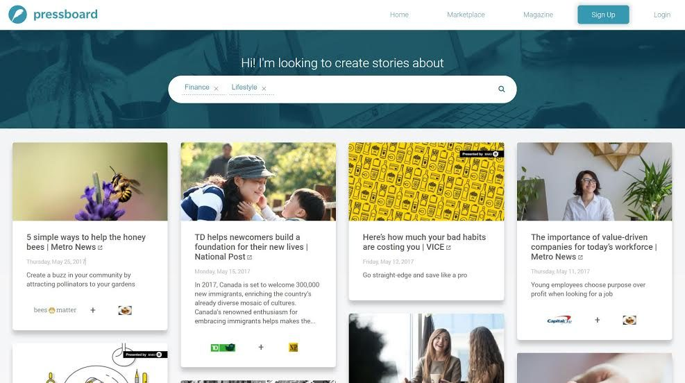 Pressboard has raised $2 million to expand its branded content marketplace (Image: Pressboard)