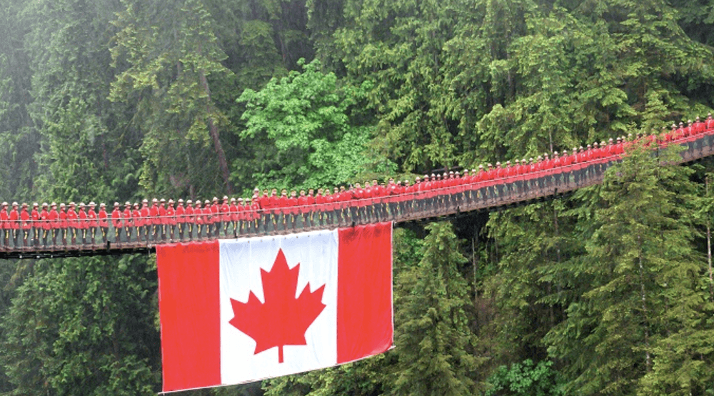 BC Mounties throw early birthday party for Canada on Capilano Suspension Bridge