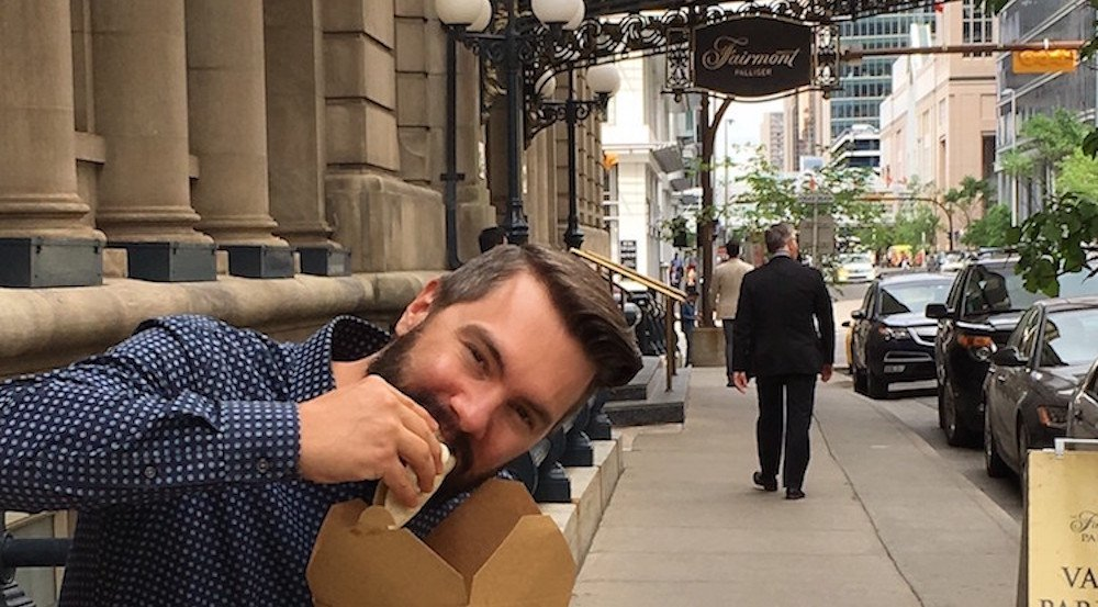 Grab a quick and delicious sidewalk lunch at the Fairmont Palliser