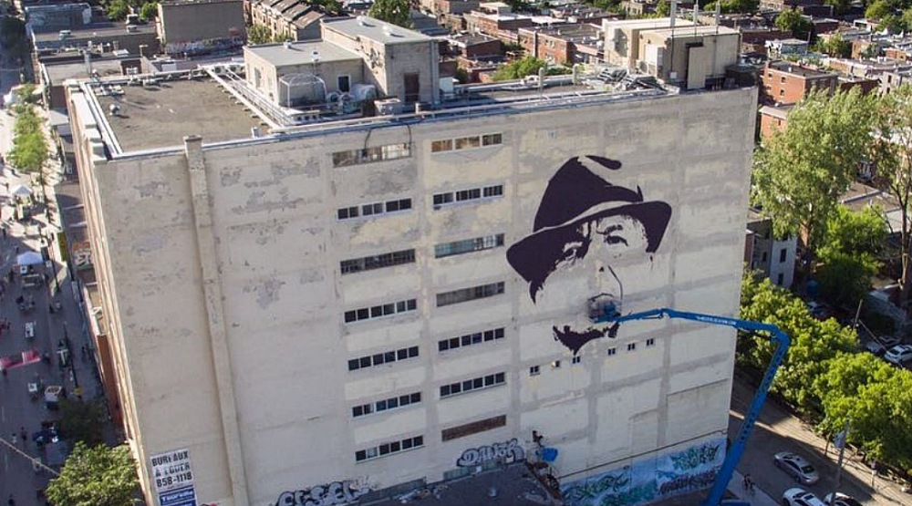 A massive nine storey mural dedicated to Leonard Cohen can be seen in Montreal