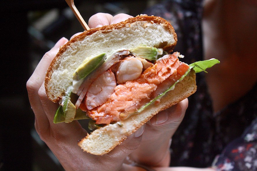 YEW seafood + bar_Chef Weimar's West Coast Salmon East Coast Lobster Burger
