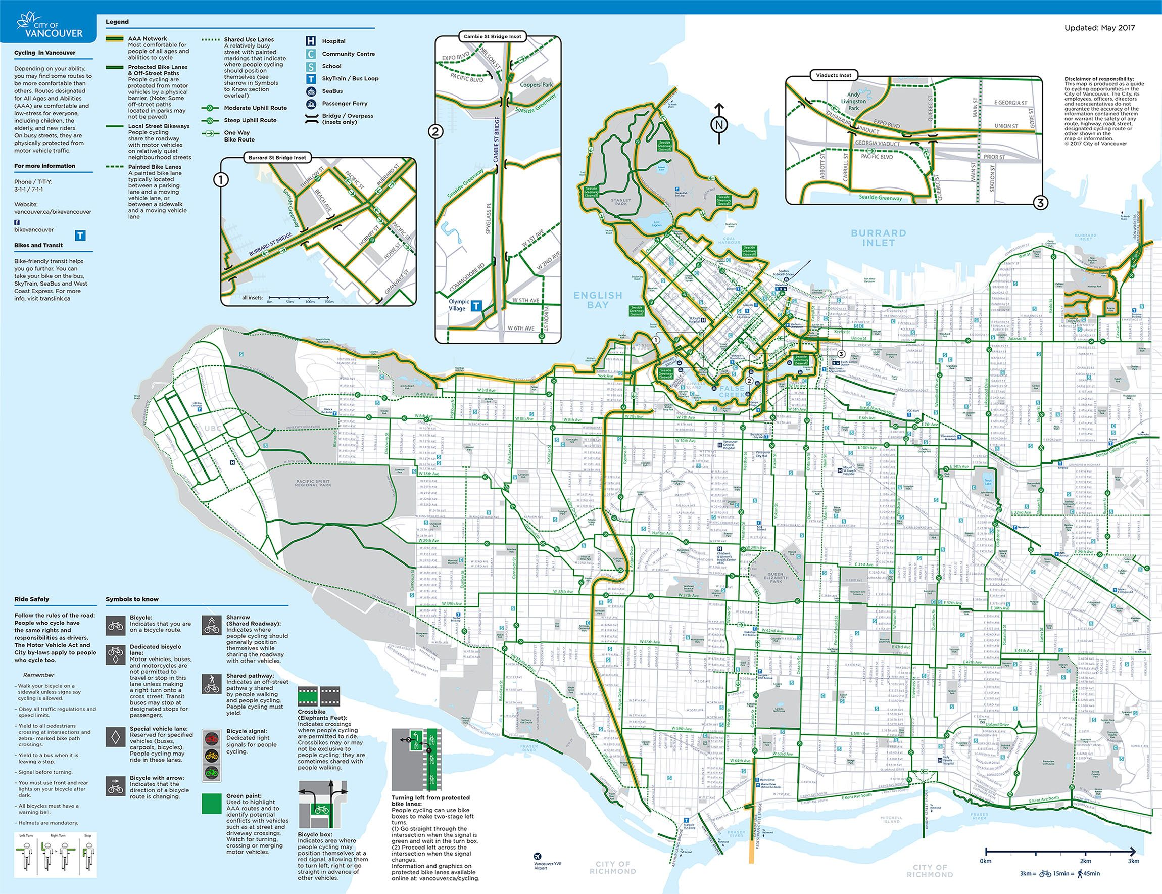 Map of Vancouver bike paths (City of Vancouver)