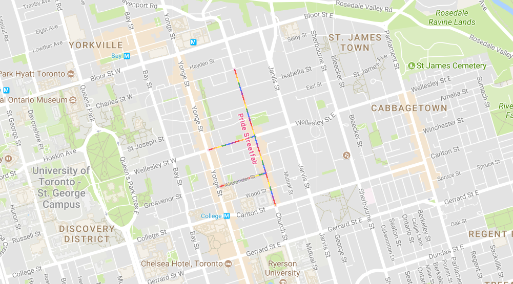 Maps Toronto.Google Maps Gives Church Street Rainbow Colours For Pride Toronto