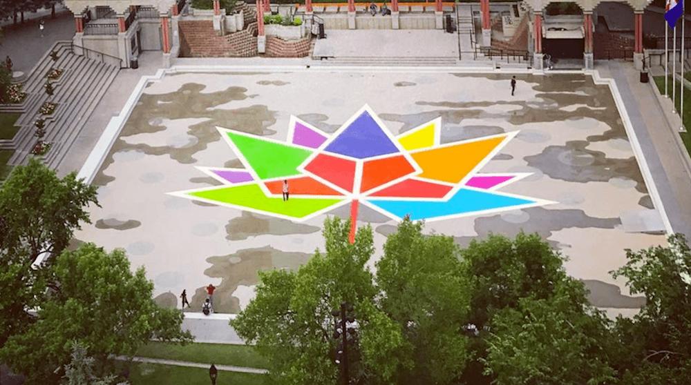 Olympic plaza maple leaf city of calgary