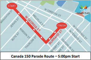 Screenshot from Canada 150 Parade notice (Canada Place)