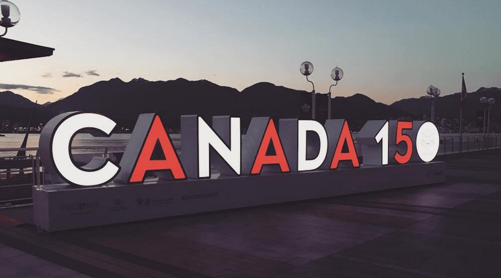 The Canada 150 sign at Canada Place is sticking around until November