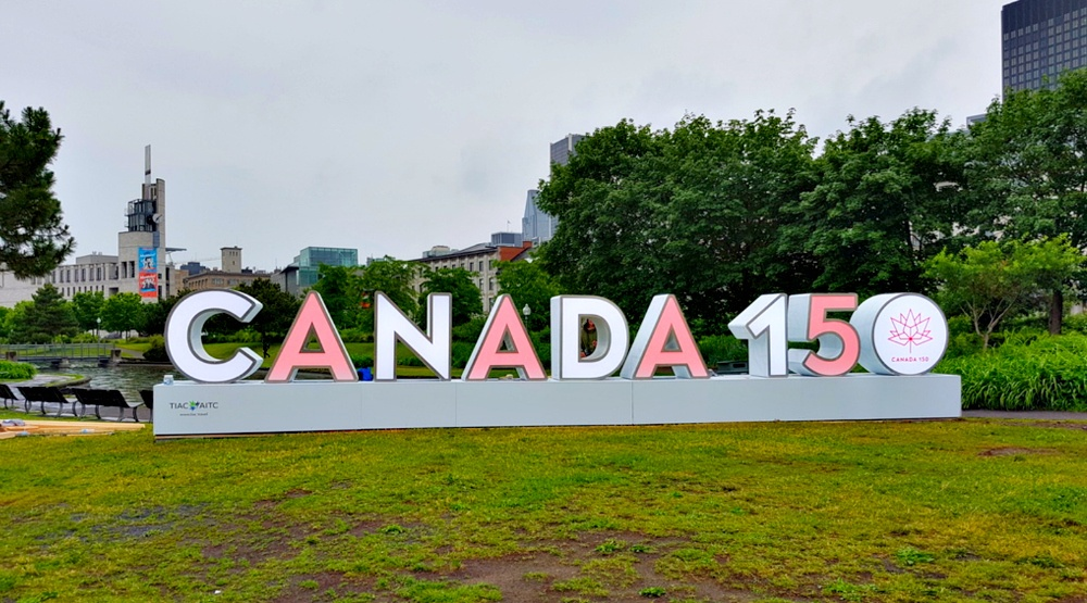 """A giant """"Canada 150"""" sign has taken over Old Port"""