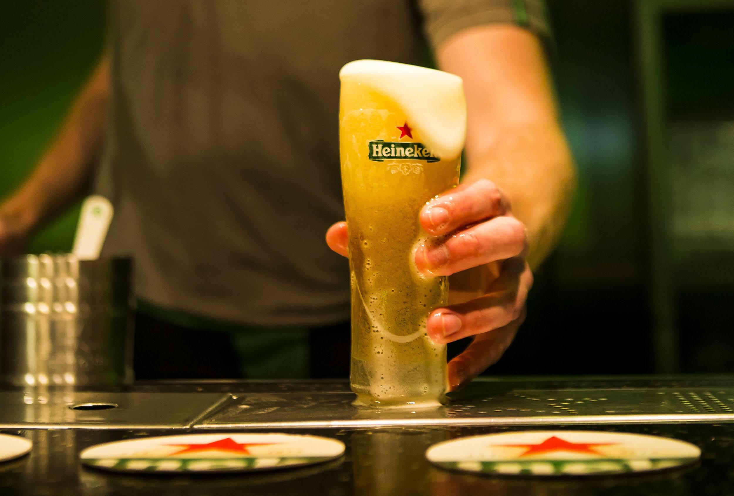 A freshly poured, cold Heineken lager (Heineken)
