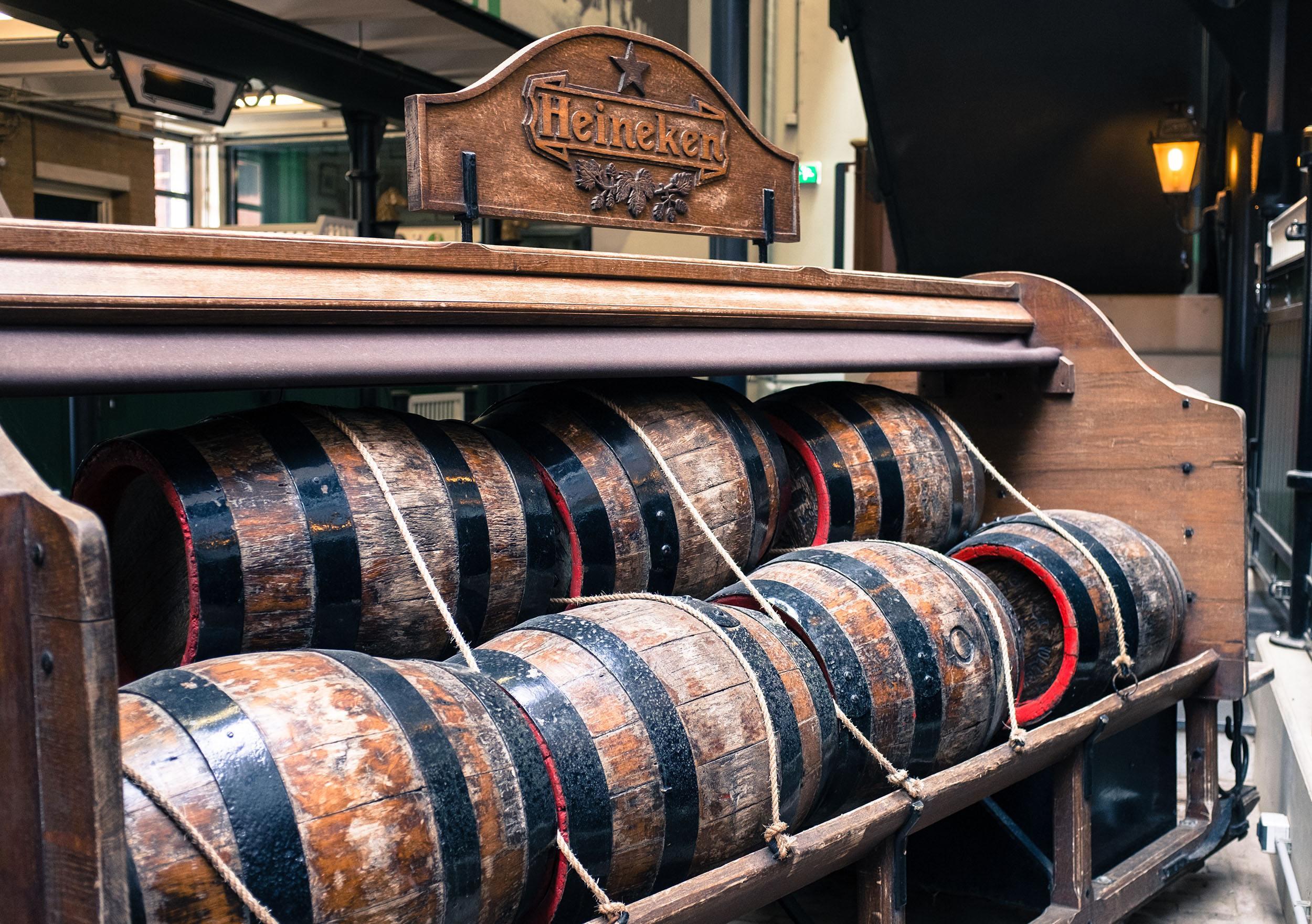 Old Heineken beer delivery barrels at the Heineken Experience in Amsterdam (Jenni Sheppard)