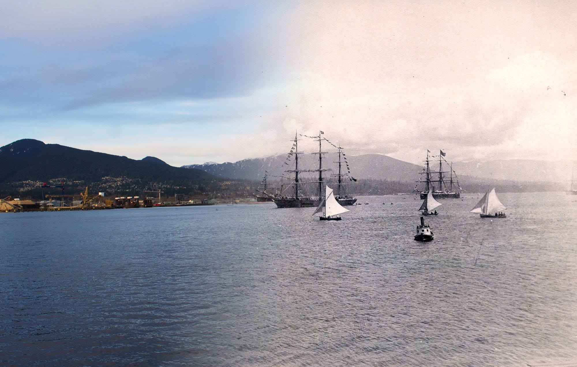 Ships in Vancouver's harbour celebrating Dominion Day (Canada Day) in 1889 (Vancouver Archives/On This Spot)