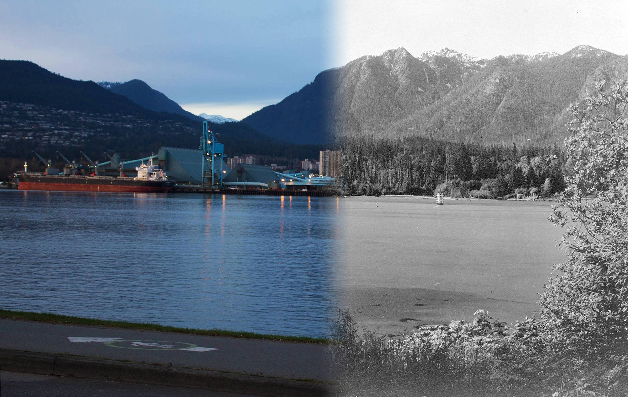 A view of the North Shore Mountains from 'Chaythoos' in Stanley Park in 1890 (Vancouver Archives/On This Spot)