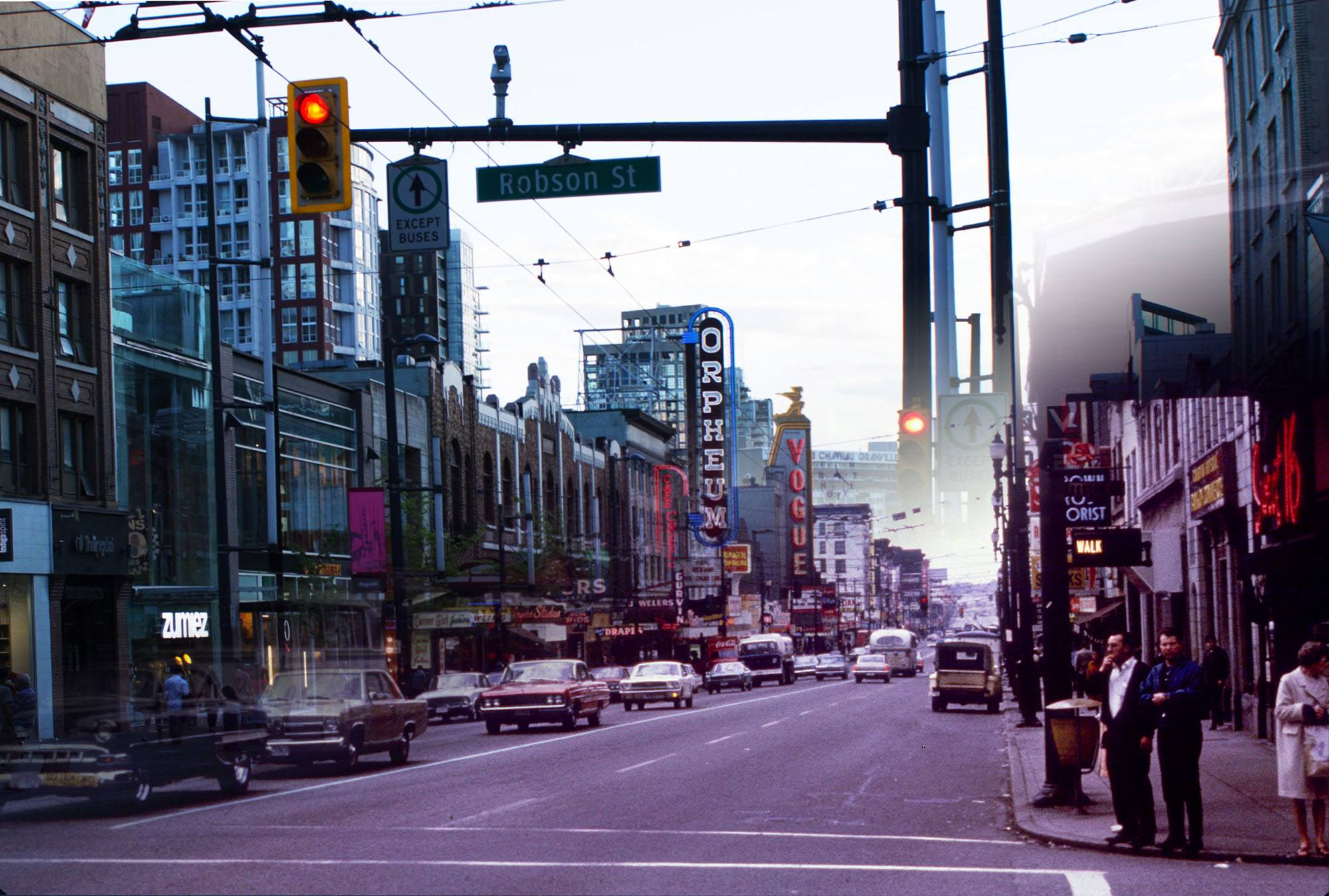 A busy Granville strip and so-called Theatre Row in 1967 (Vancouver Archives/On This Spot)