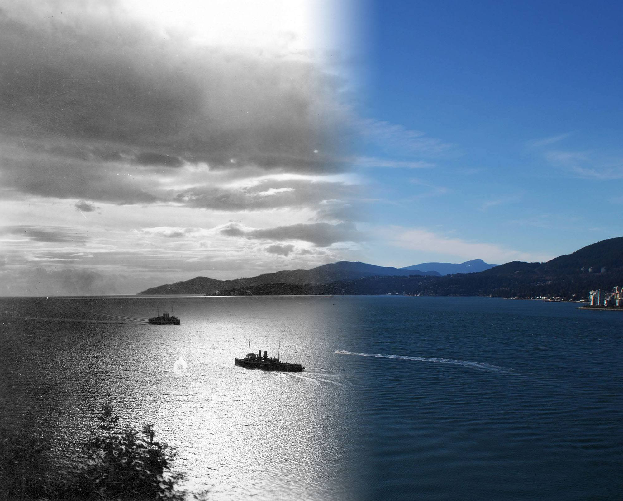 Two ships pass each other at the entrance to Vancouver harbour in the 1930s (Vancouver Archives/On This Spot)