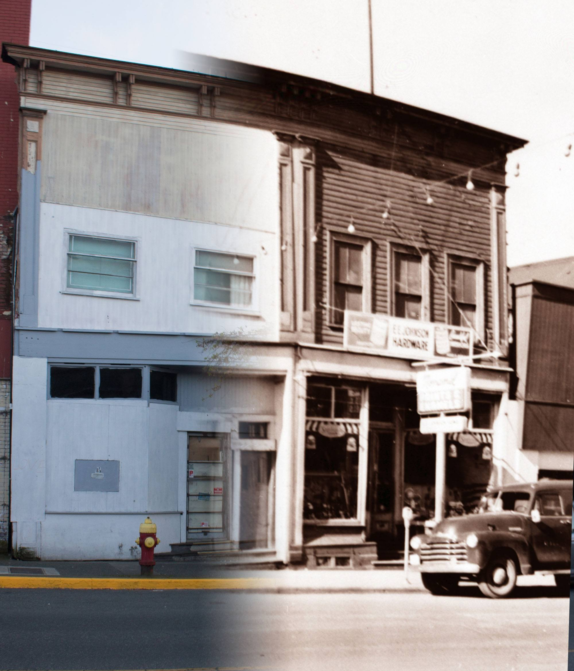 Two old stores on Victoria Crescent in the 1940s (Nanaimo Museum /On This Spot)