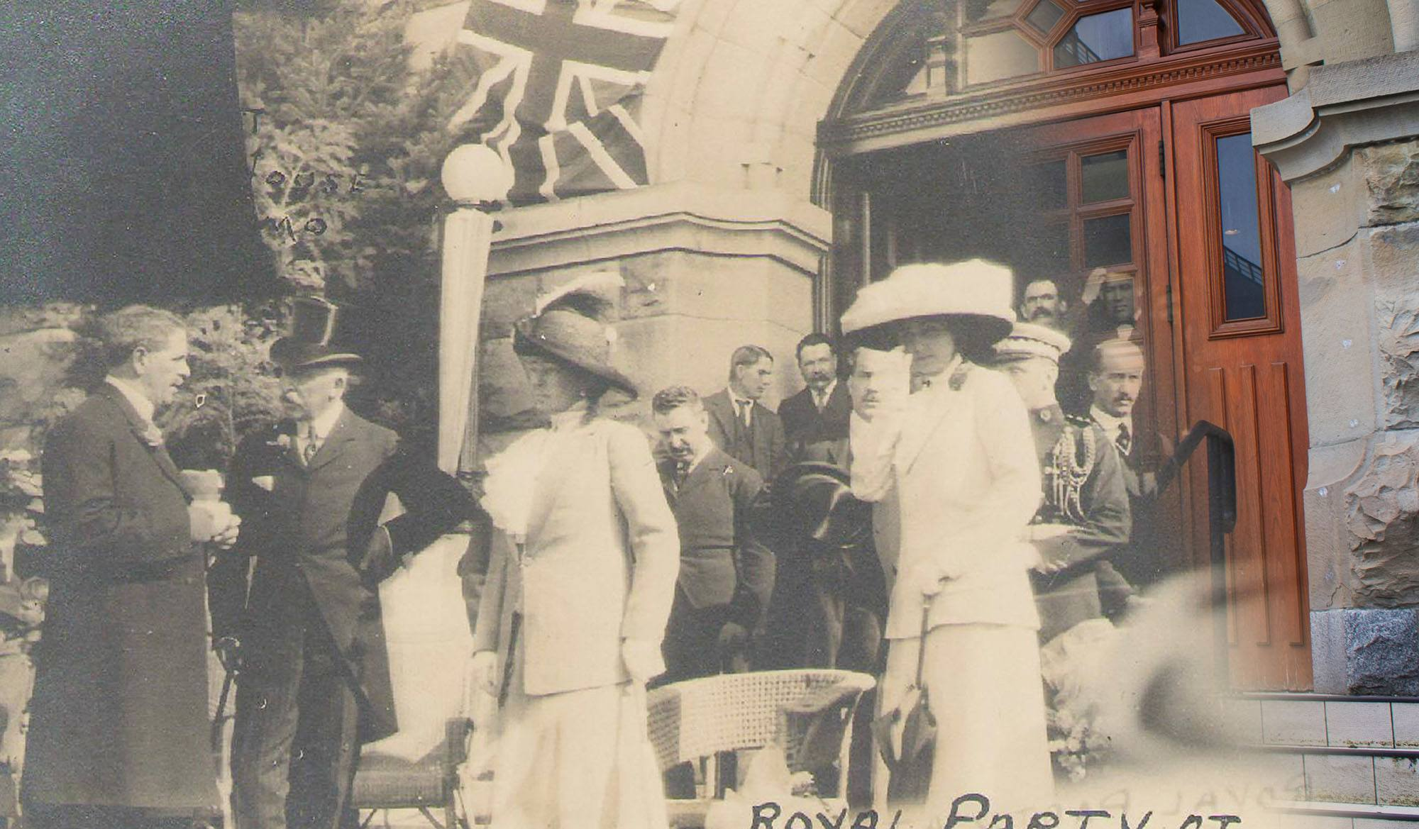 The Duke and Duchess of Connaught leave the courthouse in 1915 (Nanaimo Archives/On This Spot)