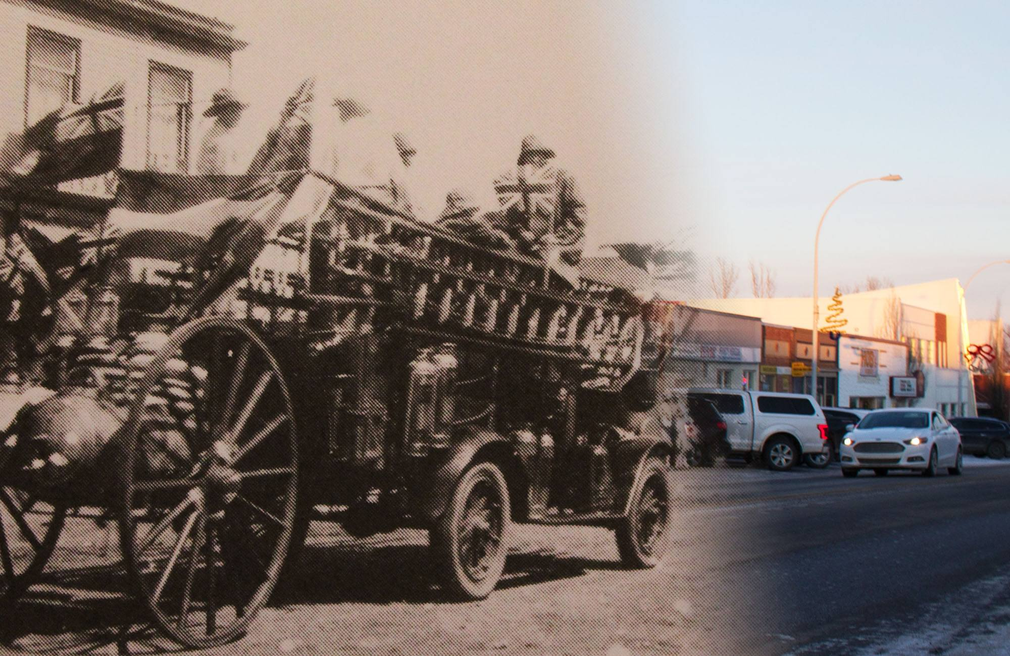 A fire engine drives down Main Street in Strathmore for Stampede Parade in 1930 (Strathmore History Book Committee/On This Spot)