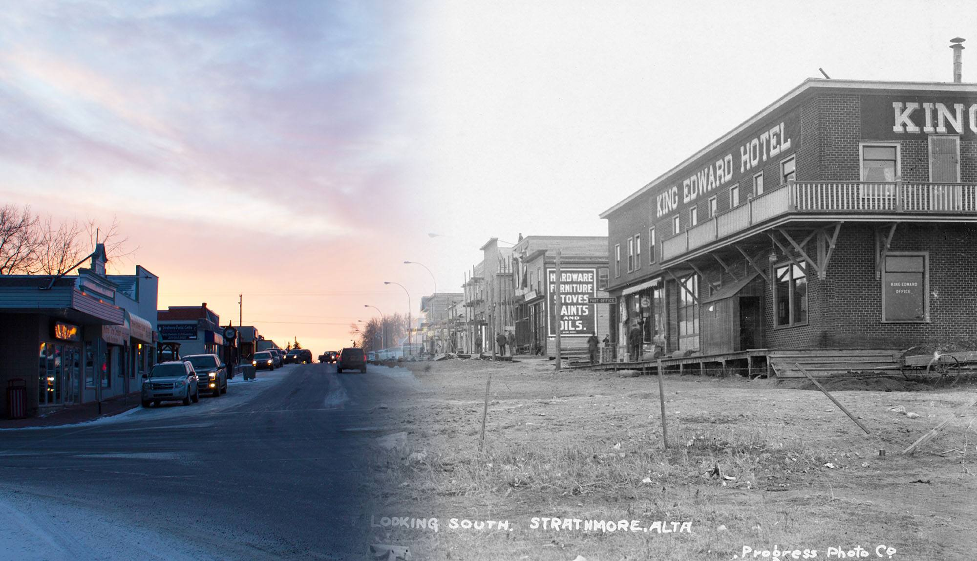 An early shot of Strathmore's main street in 1912 (Glenbow Museum and Archives/On This Spot)