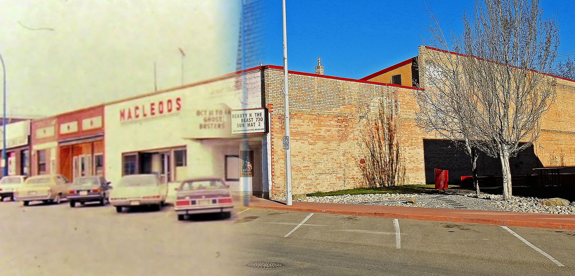 Cars are parked outside the businesses along Main Street in the 1980s (Town of Strathmore/On This Spot)