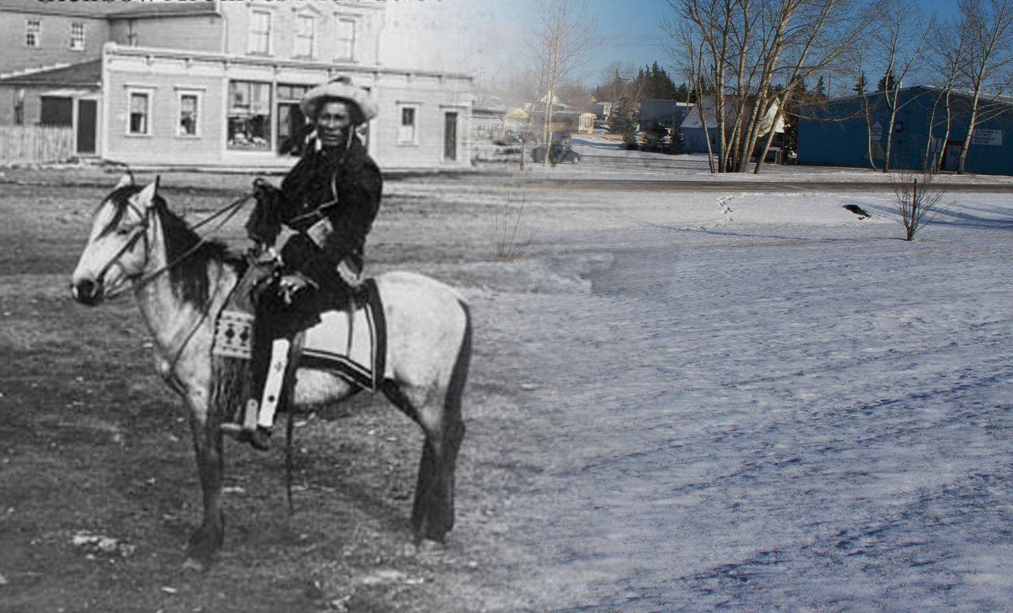 Two Blackfoot people on horseback in front of Beaupre's Pioneer Store in the 1880s (Glenbow Museum and Archives/On This Spot)