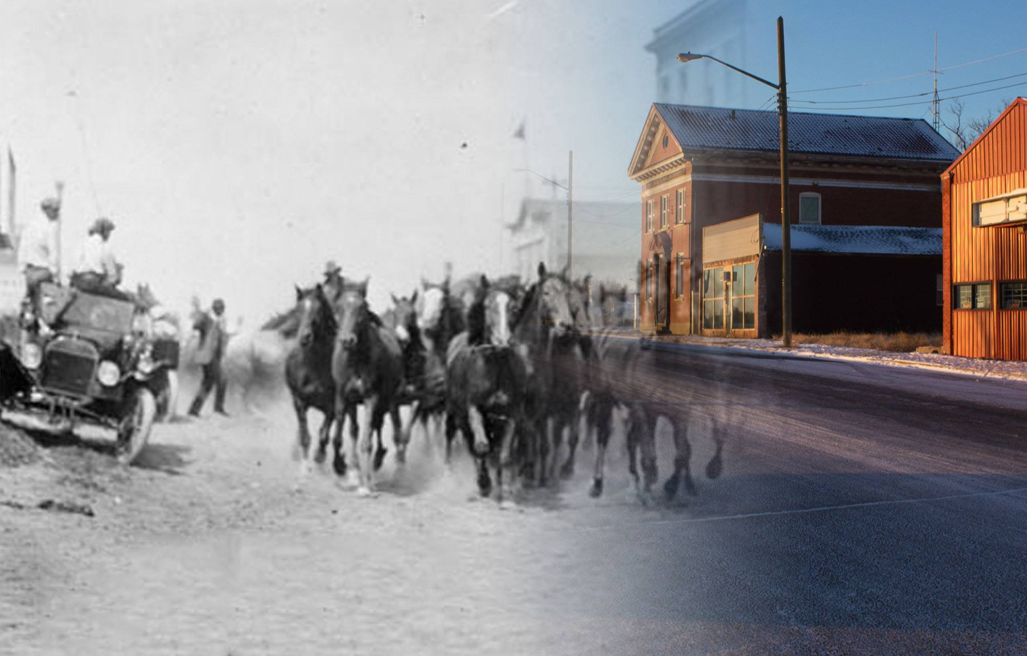 Horses being stampeded down Main Street during the Gleichen Stampede in 1915 (Glenbow Museum and Archives/On This Spot)