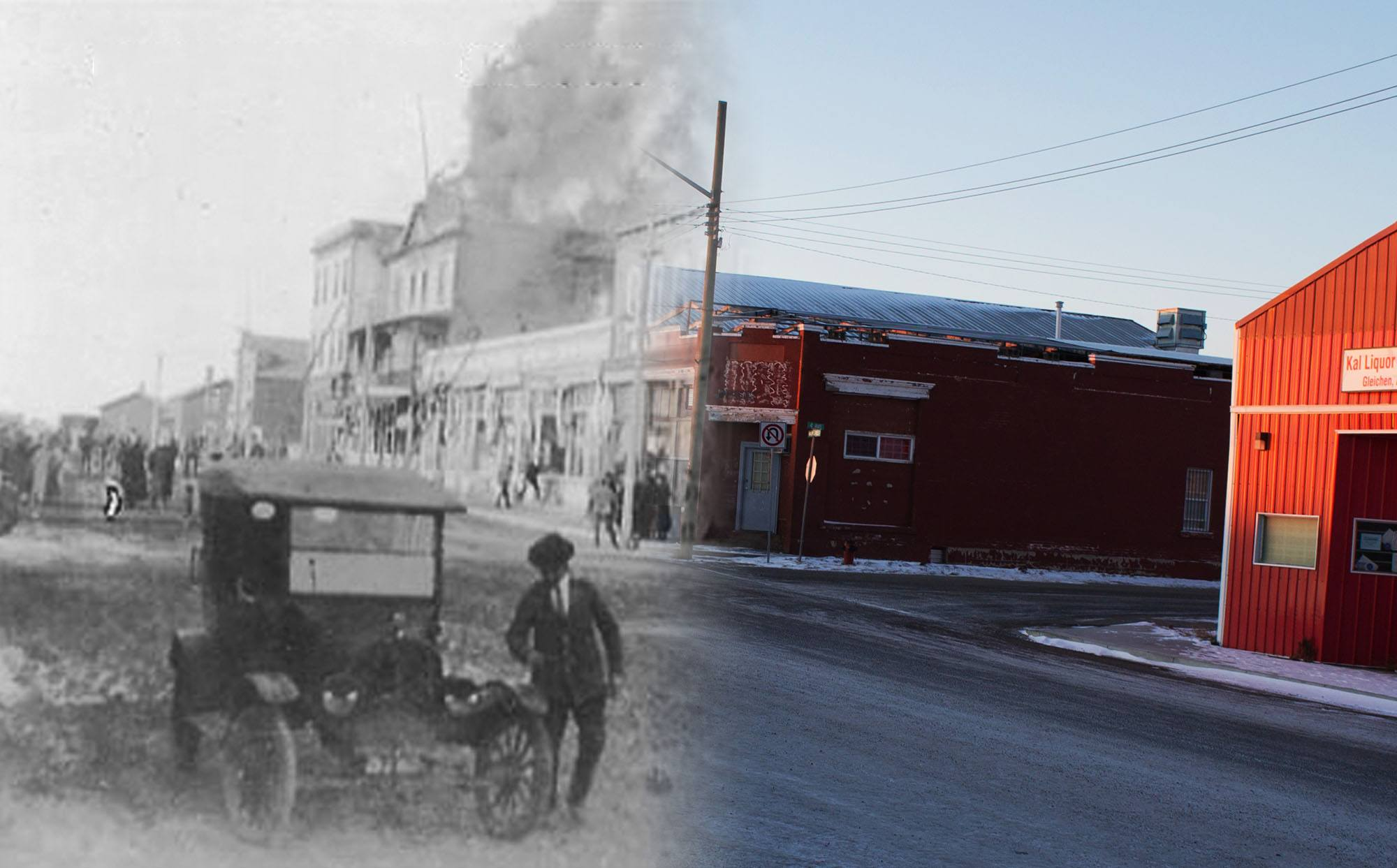 A massive fire tears through the Gleichen Hotel in 1923 (Glenbow Museum and Archives/On This Spot)