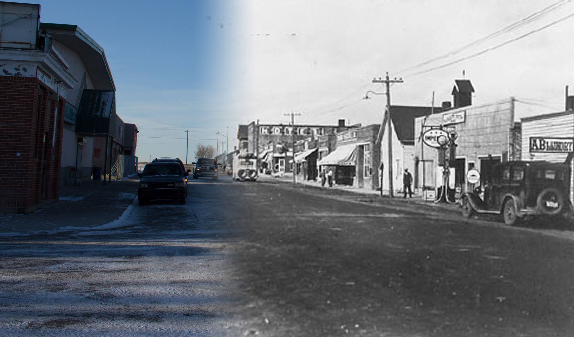 Looking down a rather drab Main Street in Gleichen in 1938 (Glenbow Museum and Archives/On This Spot)