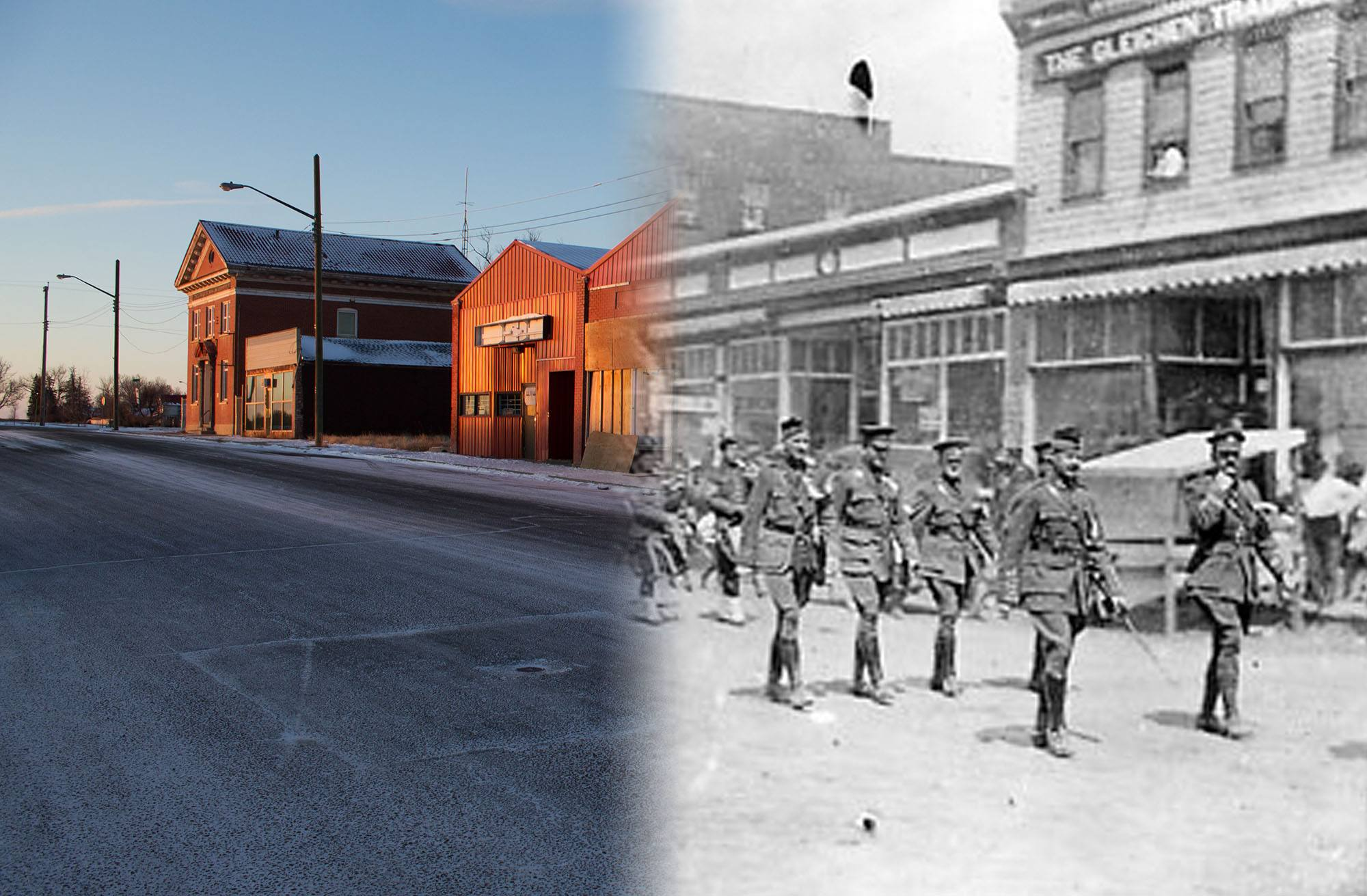 Gleichen's soldiers put on a military parade before heading to war in 1915 (Glenbow Museum and Archives/On This Spot)
