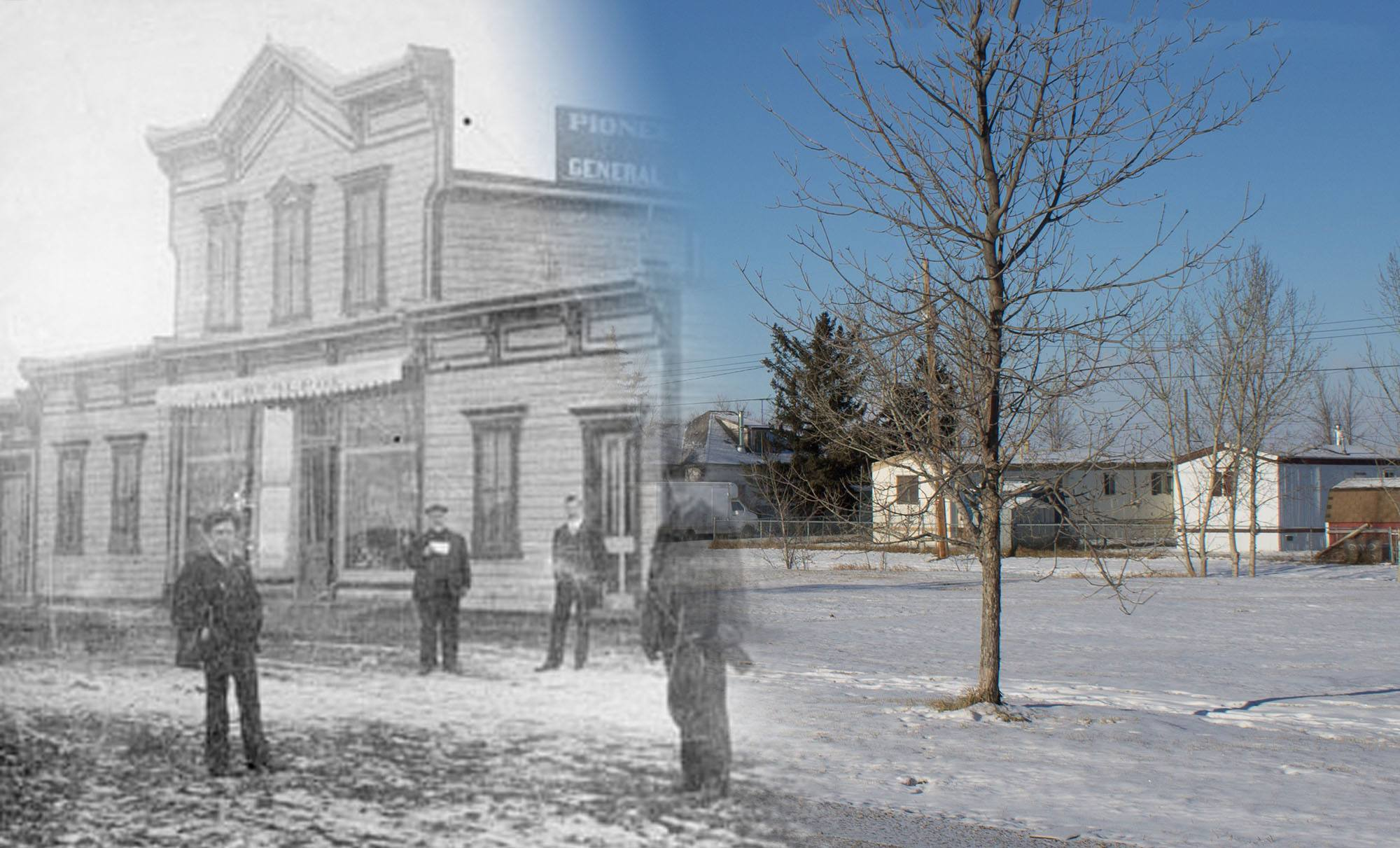 Men and children stand outside the Pioneer Store in Gleichen in 1900 (Glenbow Museum and Archives/On This Spot)