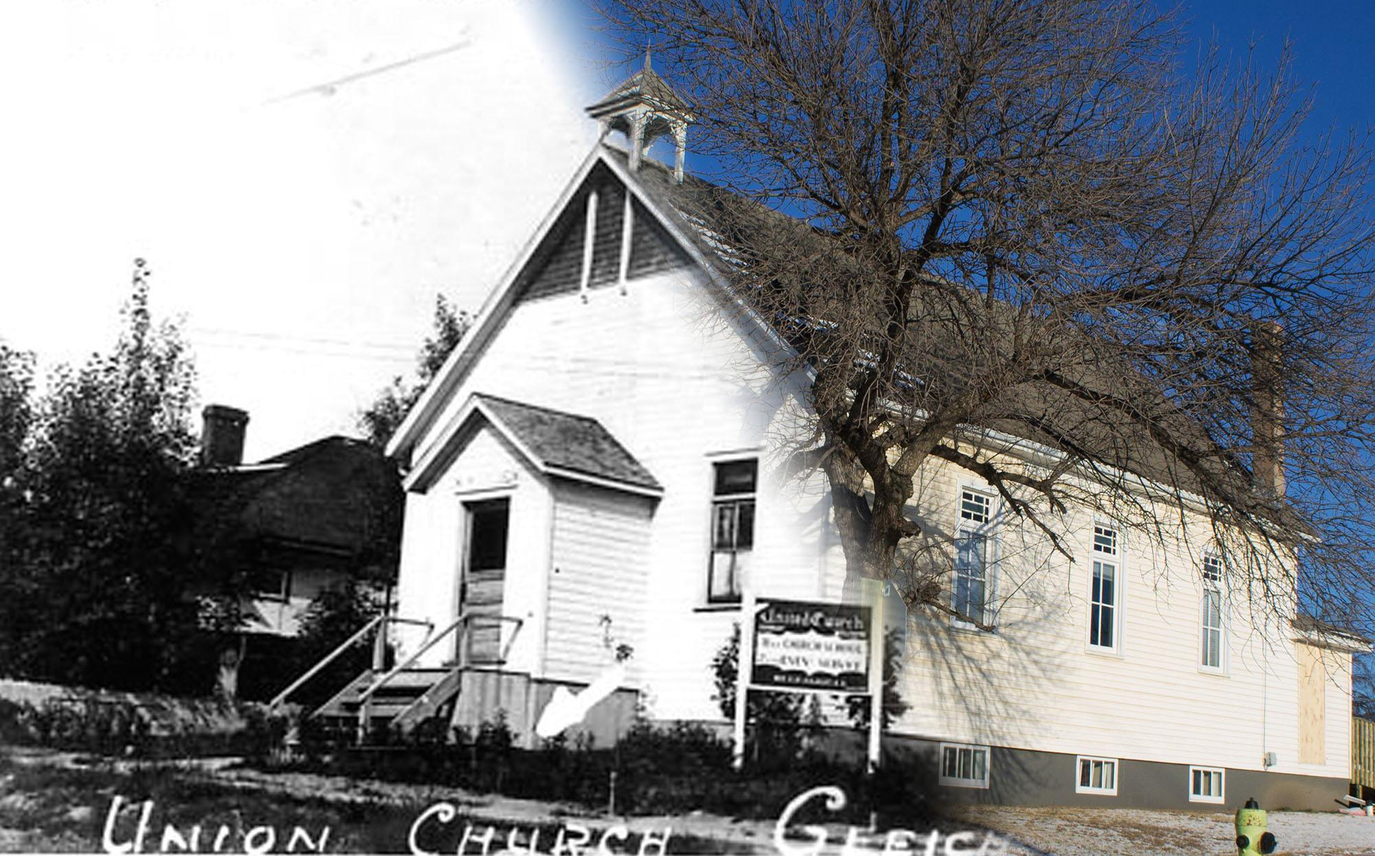 The United Church in Gleichen in the 1920s (Glenbow Museum and Archives/On This Spot)
