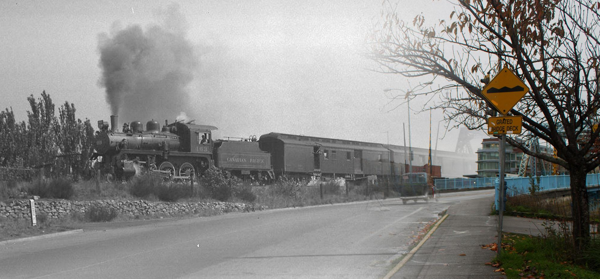 A Canadian Pacific Railway train in the 1940s (Vancouver Archives/On This Spot)