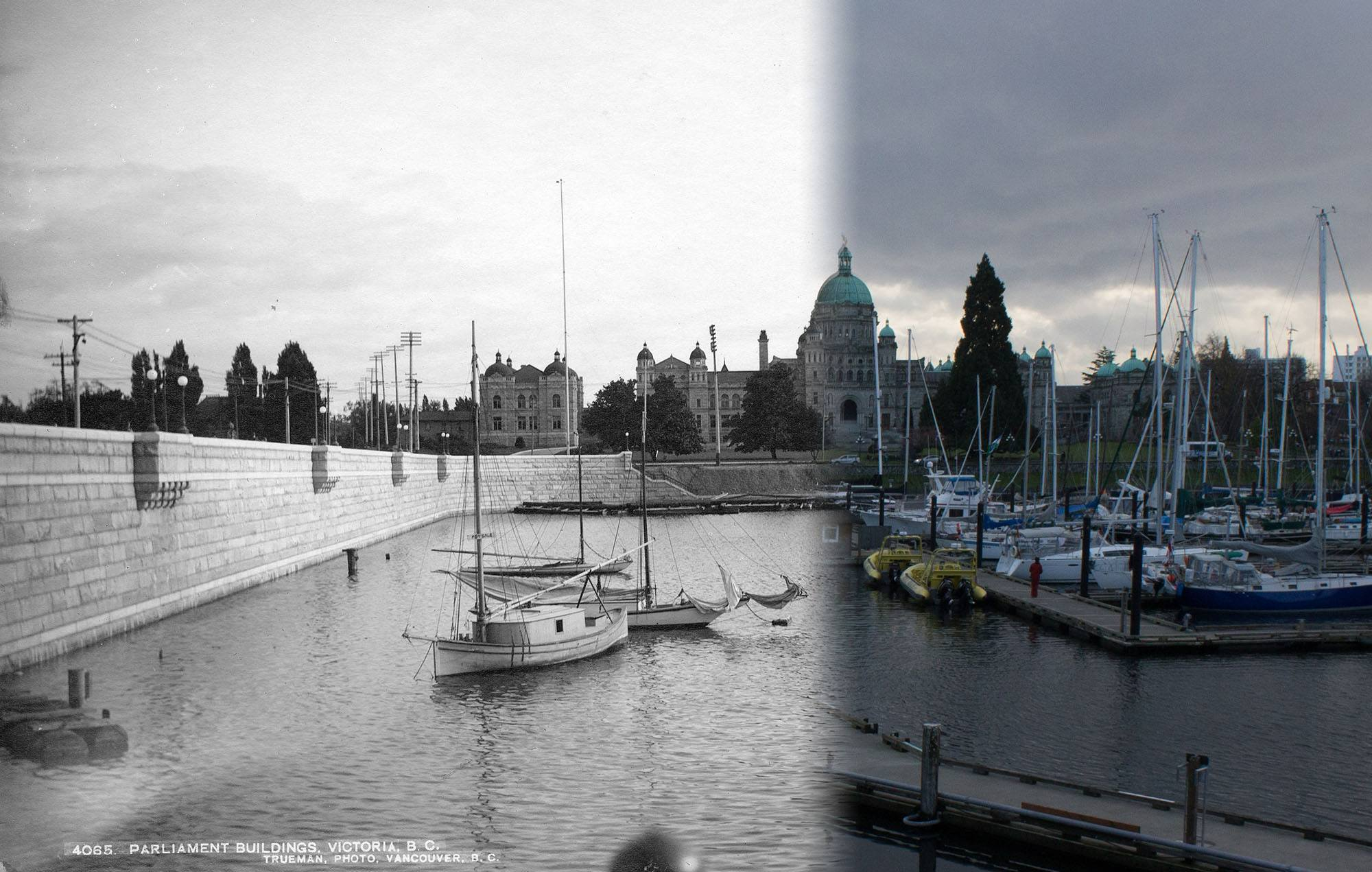 The BC Legislature as seen from across the Inner Harbour in 1901. (Vancouver Archives/On This Spot)