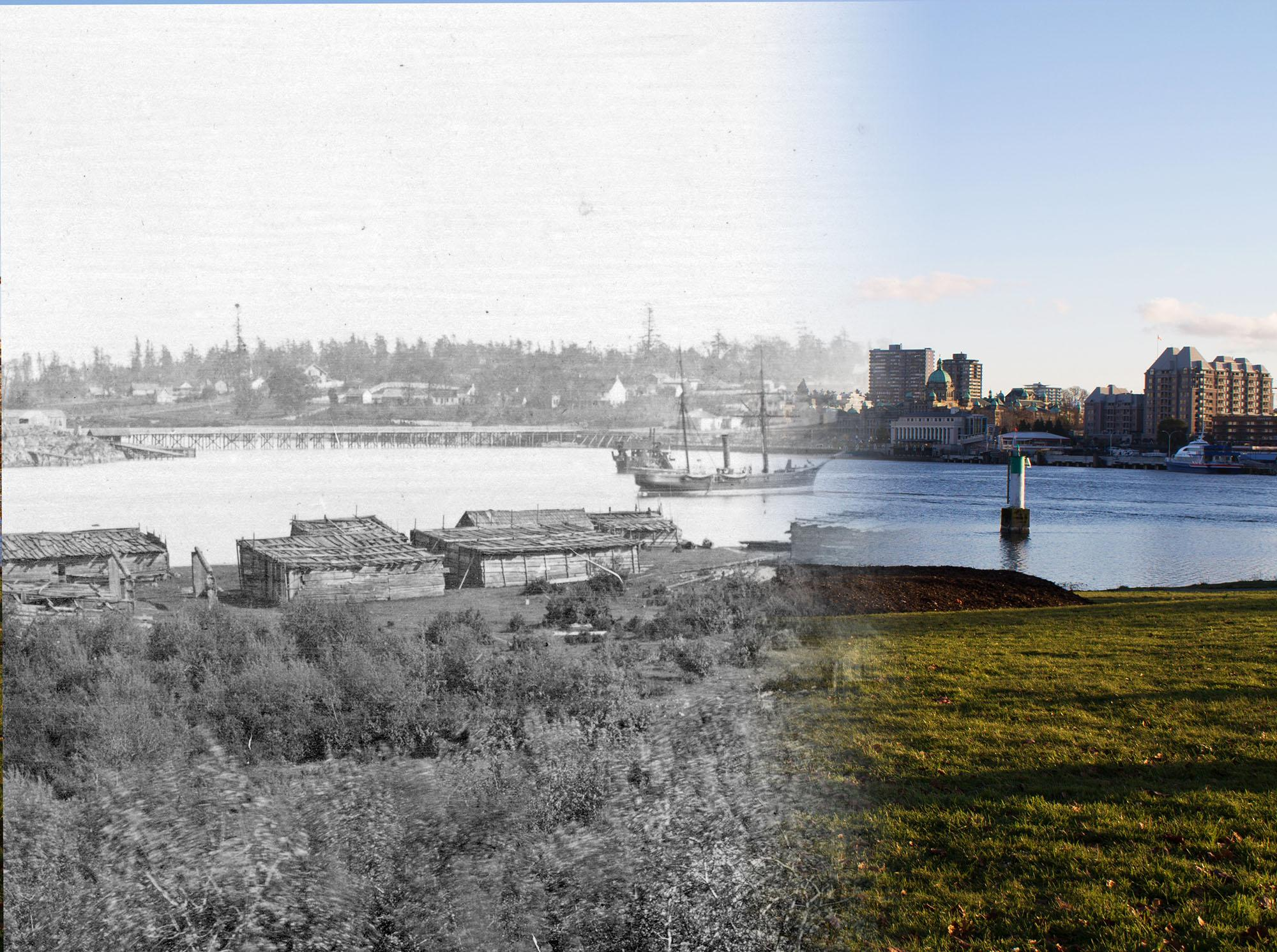 The homes of the Songhees First Nation in Victoria's Inner Harbour (Vancouver Archives/On this Spot)