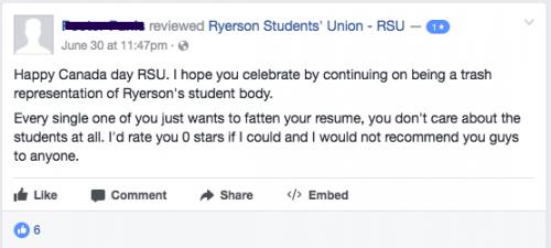 RSU received backlash after 11 demands were posted on its Facebook page (RSU/Facebook)