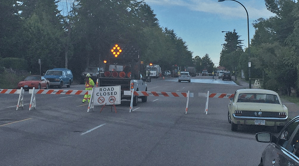 Road closed after water main bursts in East Vancouver Monday night