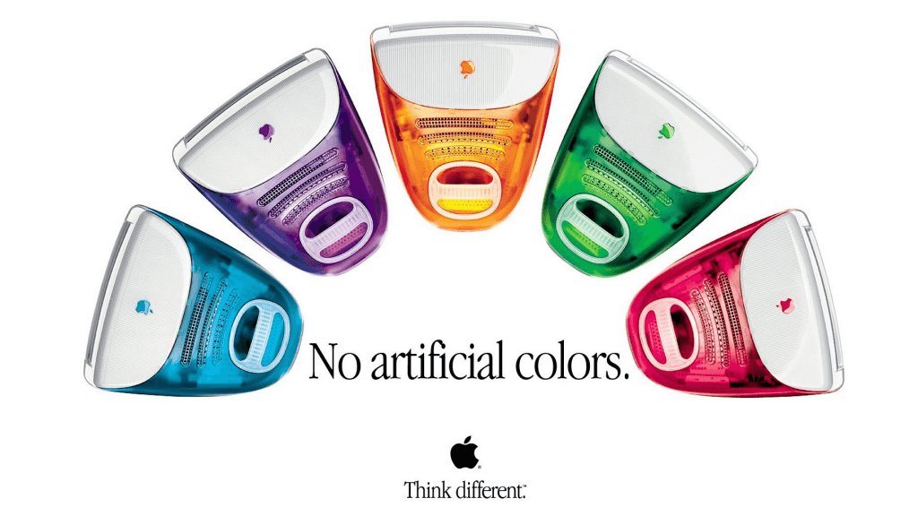 The 1990s ad for Apple's coloured iMacs (Apple)