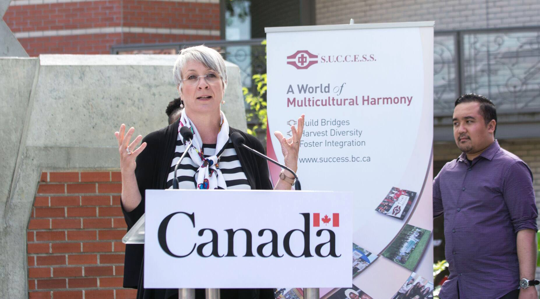 Minister Patty Hajdu speaking at S.U.C.C.E.S.S. in Port Coquitlam (S.U.C.C.E.S.S.)