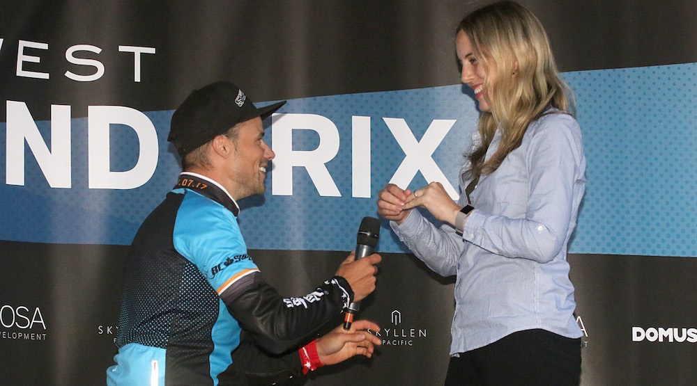 Cyclist proposes to girlfriend after winning New West Grand Prix (VIDEO)