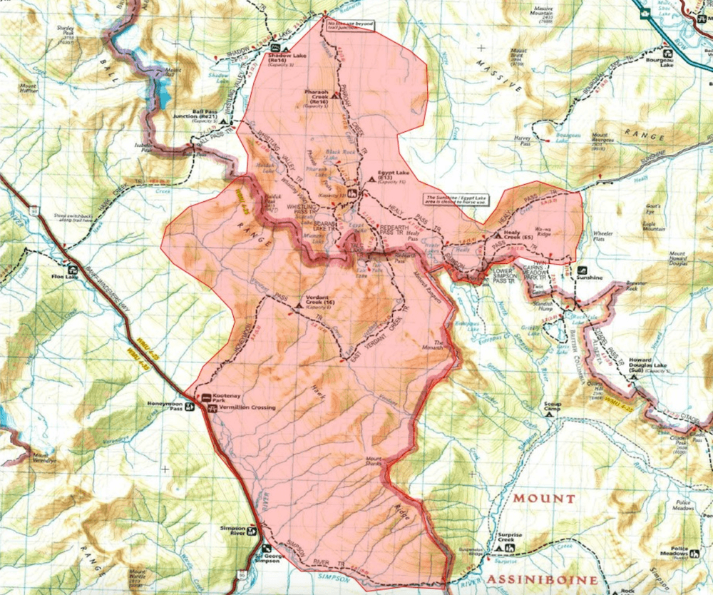 Wildfire Causes Closures In Parts Of Kootenay And Banff National - Map of banff and us