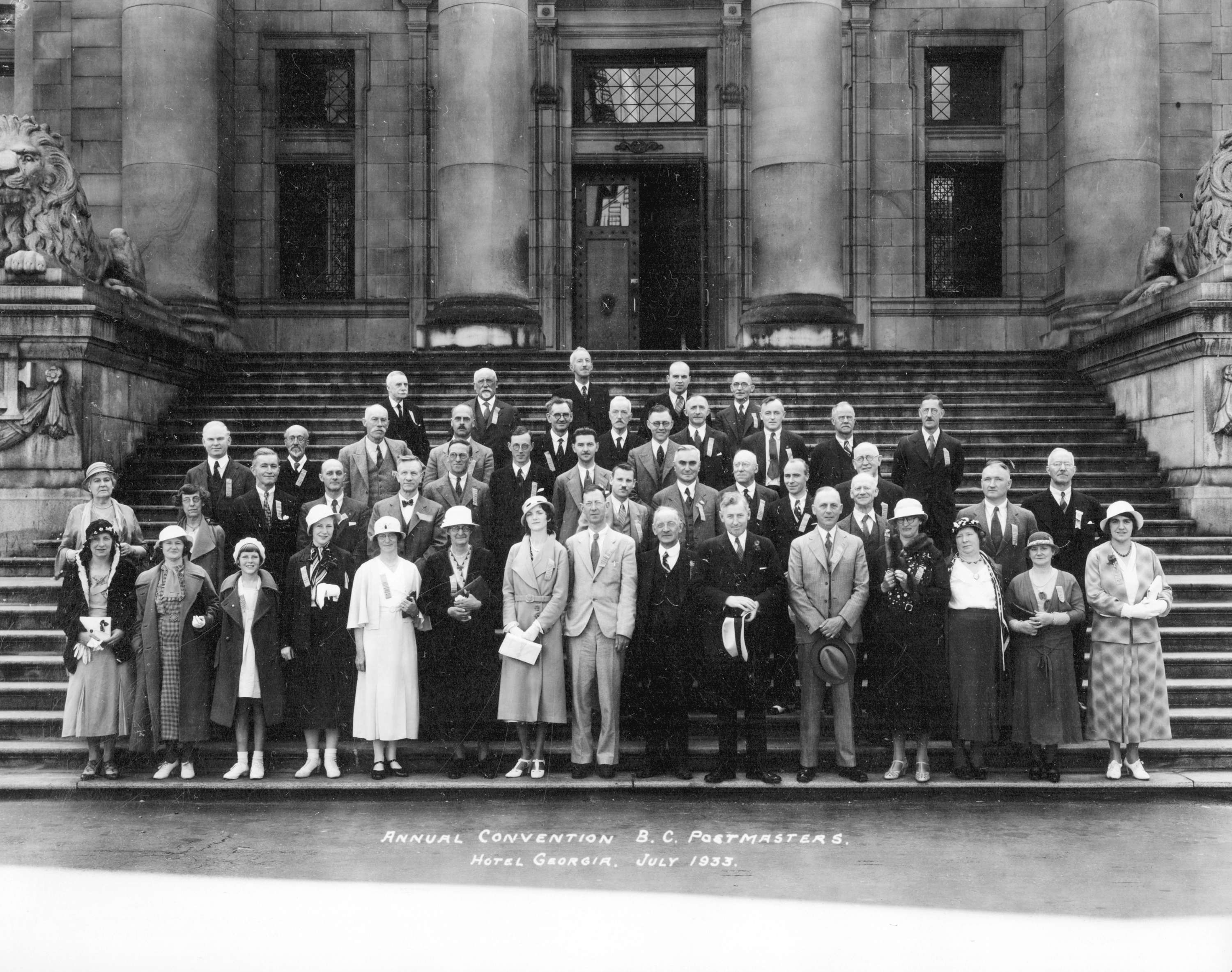 BC Postmasters outside the provincial courthouse in Vancouver in 1933 (Vancouver Archives)
