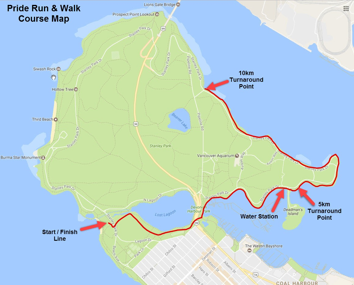 Pride Run and Walk 2017 course map (Vaancouver Frontrunners)