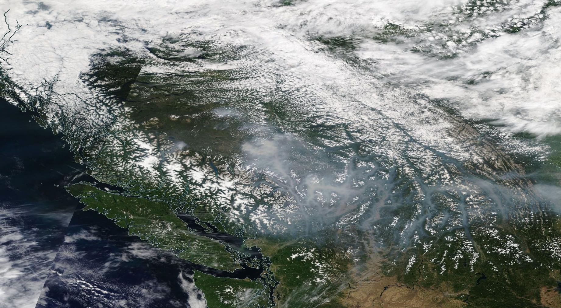 BC wildfire smoke as seen from space on July 17, 2017 (NASA)